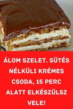 Csak győzd kivárni amíg lehűl! #szelet #sütés Hungarian Desserts, Hungarian Recipes, Super Healthy Recipes, Sweet Recipes, No Bake Desserts, Dessert Recipes, Twisted Recipes, Homemade Sweets, Special Recipes