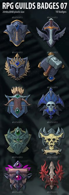 RPG Guilds Badges 07 by a-ravlik   GraphicRiver Pixel Size, Cg Art, Game Assets, Badges, Pixel Art, Knight, Fantasy, Display, Minecraft Projects