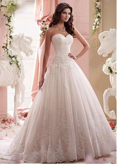 Glamorous Tulle Sweetheart Neckline Dropped Waistline A-line Wedding Dress With Lace Appliques