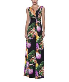 Another great find on #zulily! Elfe Black & Purple Floral Empire-Waist Maxi Dress by Elfe #zulilyfinds