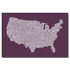 US City Map IV by Michael Tompsett Textual Art on Wrapped Canvas