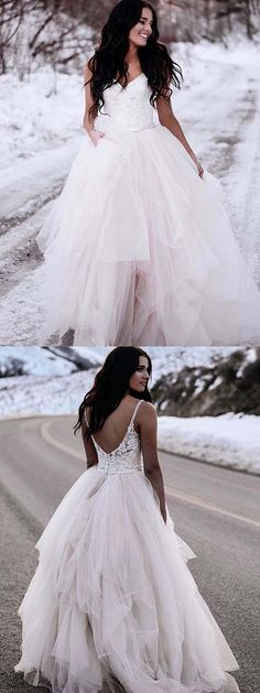 Charming Spaghetti Straps Lace Top Backless Tulle Wedding Gowns with Train, - Wedding Dress Fluffy Wedding Dress, How To Dress For A Wedding, Wedding Dresses With Straps, Wedding Dress Train, Custom Wedding Dress, Backless Wedding, Long Wedding Dresses, Colored Wedding Dresses, Perfect Wedding Dress