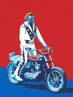 "Evel Knievel painting, ""All American Hero"" by, Chris Mackie"