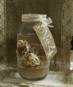 Burlap wedding FLOWER vase ViNTAGE LACE candle