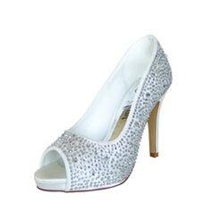 Women's Satin Stiletto Heel Peep Toe Platform Pumps Sandals With Rhinestone