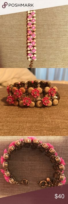 Brand NEW 3 tone pink & diamond studded bracelet This brand new J. Crew Collection bracelet is 2 different tones of pink studs with a third tone of pink flowers inlaid. It also has rectangle diamond studs all throughout. J. Crew Jewelry Bracelets