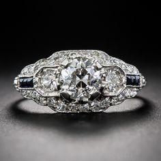 1.00 Carat Art Deco Platinum Diamond and Sapphire Engagement Ring