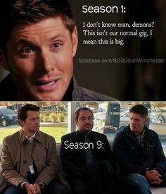 I don't know man, demons? This isn't our normal gig. I mean, this is big. Season 1 vs Season 9. Crowley. Supernatural. Dean Winchester. Jensen Ackles. Mark Sheppard. Misha Collins. Castiel.