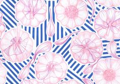 onebeecraft Pattern with garlic for textile or wallpaper or whatever comes to mind. Made by hand on paper with crayons and then digitized. Good for fashion or interiors.