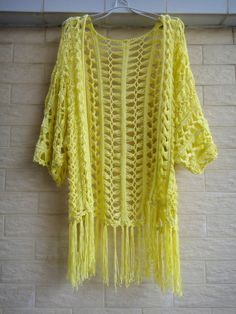 Fringe Kimono Cover Up Womens Tunic Top por Tinacrochetstudio
