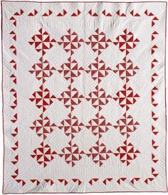 Red and white quilt from the Great Lakes Quilt Center. Two Color Quilts, Blue Quilts, Scrappy Quilts, Antique Quilts, Vintage Quilts, Quilting Projects, Quilting Designs, Quilting Ideas, Quilt Block Patterns