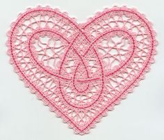 This freestanding Battenburg lace design uses cotton thread - 35 weight embroidery or sewing thread). Project instructions demonstrate how to embroider Battenburg lace. Tatting Jewelry, Lace Jewelry, Tatting Lace, Machine Embroidery Projects, Machine Embroidery Applique, Hand Embroidery, Bobbin Lace Patterns, Lace Heart, Point Lace