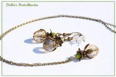 Set Kette und Ohrringe champagnerfarben grün von DaBea's PerlenMaschen auf DaWanda.com