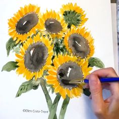 watercolor,flowers-Fun and bright watercolor sunflower painting sunflower watercolor flowers fineartist Watercolor Painting Techniques, Watercolour Tutorials, Watercolour Painting, Painting & Drawing, Watercolor Flowers Tutorial, Bee Painting, Watercolor Art Lessons, Watercolor Brushes, Painting Videos