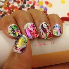 Rainbow Nail Foil on White | chichicho~ nail art addicts