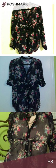 Express sheer floral blouse Express size medium, dark navy sheer floral  button down blouse .   This top features long sleeves that can be rolled up & secured with button strap, a longer more tunic like length with a high under bust cinched seam. New without tags, zero signs of wear. Machine washable Express Tops Blouses