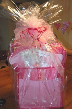 Jammie gift basket with list of goodies to include