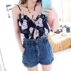 Mirror pics are fun  Bodysuit: @shoptobi #shoptobi  Shorts: thrifted  Phone case: @caseology #caseology by dressmelikethat