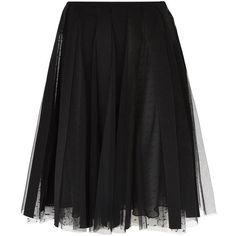 Red Valentino Tulle Midi Skirt (€635) ❤ liked on Polyvore featuring skirts, bottoms, midi skirt, mid-calf skirt, tulle pleated skirt, layered skirt and stripe skirt