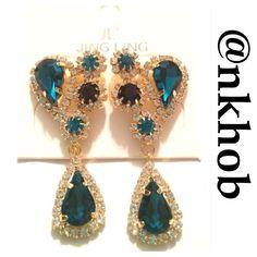 Blue & Gold Rhinestone Earrings Gorgeous blue stones and rhinestone earrings! Teardrop shape! Two inches long NWT Jewelry Earrings