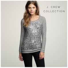 """J. Crew Collection Haya Sequin Pullover Mint condition. A chic twist on loungewear from J. Crew Collection. All over sequins and a sprinkling of stones bedazzle the front of this stunning piece. Dark heathered grey. Long sleeves, crew neck. Armpit to armpit 17.5"""". Sleeve length from shoulder 26"""", length 26"""" from shoulder to hem. Size small, but would fit a medium too. 100% cotton exclusive of decoration. Fast shipping. Feel free to ask questions and thanks for shopping Annie's Armoire! J…"""