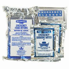Survival Aid 3 in 1 Emergency Essentials - Food/Water/Blanket - 2 Day Value Pack #Mainstay