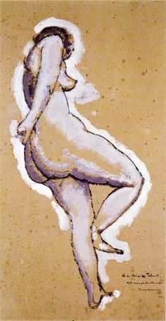 Expressionism — Standing Nude via Marcel Duchamp Collage, Plastic Art, Artist Gallery, Henri Matisse, Conceptual Art, French Art, Life Drawing, Figure Painting, Les Oeuvres