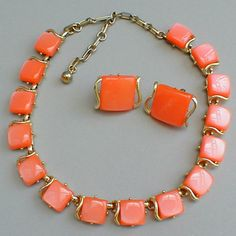 Coro Vintage Jewelry | glitterbug vintage jewelry vintage coro coral lucite moonglow necklace ...