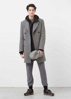 Długi wełny płaszcz tailored | MANGO MAN