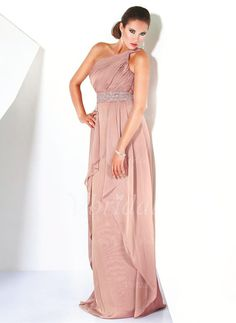 A-Line/Princess One-Shoulder Floor-Length Beading Cascading Ruffles Chiffon Zipper Up at Side Regular Straps Sleeveless No Other Colors Spring Summer General Mother of the Bride Dress