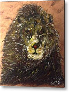 """Majesty - African Male Lion: An acrylic painting of a lion printed on to a 1/16"""" thick aluminium sheet to produce a high gloss effect by Kelly Goss Art. Mounted on a wooden frame and delivered """"ready to hang"""". Perfect to brighten up and decorate your home. Fit for any wall in any room. The special gift to spice up a friend's home decor. For a lover of animals and African wildlife art."""