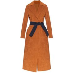 MSGM Contrast belt faux-suede trench coat ($270) ❤ liked on Polyvore featuring outerwear, coats, msgm, tan, orange trench coat, belted trench coat, belted coat and faux suede coat