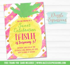 Printable Watercolor Pineapple Birthday Invitation | Luau Invite | Pool Party | Adult or Kids Summer Party Idea | Party Like a Pineapple | Pink and Gold Glitter | Tropical Fruit | Hawaiian Party | Digital File Baby Shower | Bridal Shower | FREE thank you card | Party Package Available | Banner | Cupcake Toppers | Favor Tag | Food and Drink Labels | Signs | Signs | Candy Bar Wrapper | www.dazzleexpressions.com