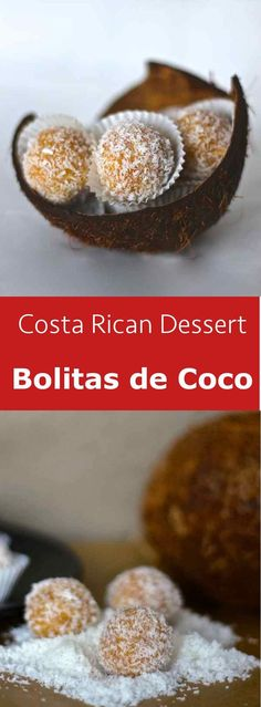 Bolitas de coco are small soft Costa Rican balls made of coconut, condensed milk and galletas Maria (or Graham crackers). #vegetarian #dessert #costarica