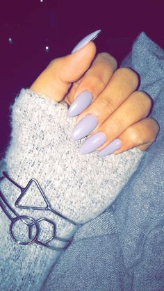 Just got my nails done. I chose a bluey grey Essie nail color, almond shape.