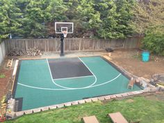 Sport court, mega slam hoop, great family fun! Safe and off the street... Do it yourself and save thousands of dollars. Fun project! Backyard basketball court.