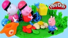 Peppa pig Play doh Flowers Creations Playdough Toys Bicycles English epi...