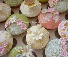 """Lacey Vintage Cupcakes! We can help achieve this look at Dallas Foam with cake dummies, cupcake stands and cakeboards. Just use """"2015pinterest"""" as the item code and receive 10% off your first order @ www.dallas-foam.com. Like us on Facebook for more discount offers!"""