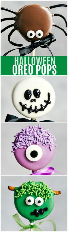 The CUTEST and easiest HALLOWEEN OREO POPS! Spider, Skeleton, Monster, and Frankenstein I chelseasmessyapron.com