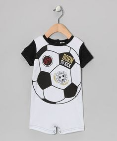 Take a look at this Black & White 'Born to Kick' Romper by Baby Essentials on #zulily today! $8