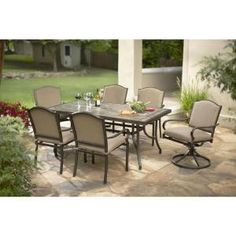 Hampton Bay Castle Rock Patio Dining Set with Toffee Cushions at The Home Depot - Mobile Outdoor Dining Set, Patio Dining, Patio Table, Patio Chairs, Outdoor Decor, Outdoor Patios, Dining Sets, Outdoor Projects, Outdoor Seating