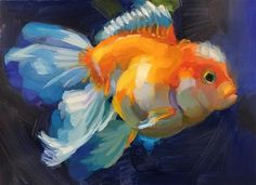 "Daily Paintworks - ""Goldfish Study"" - Original Fine Art for Sale - © Holly Storlie Fish Art, Fine Art Gallery, Goldfish, Under The Sea, Art For Sale, Study, Illustrations, Artist, Painting"