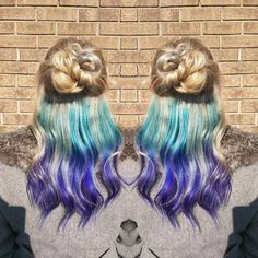 Get rainbow hair color and still be work appropriate with these hidden hair color styles! Under Hair Color, Hair Color Underneath, Hidden Hair Color, Cool Hair Color, Hair Lights, Light Hair, Cabello Peekaboo, Peekaboo Hair, Dyed Hair