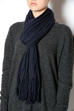 Navy blanketwrap features fringe trimming. This scarf adds warmth and femininity to even your most basic attire.   Blanket Scarf Wrap by Minnie Rose. Accessories - Scarves & Wraps Avalon, New Jersey