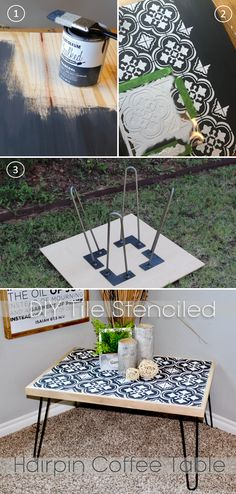 Tile Stencil hairpin coffee table how to tutorial #tilestencil #hairpinlegs #chalkpaint