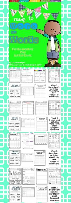 35 pages of original first grade word work activities that were carefully crafted with the first grader in mind. Modalities vary so students stay highly engaged.  VARIETY OF USES FOR DIFFERENTIATION -  This pack could be used in a variety of ways - during Daily 5, Centers, or independent work. Homework for the four weeks of May is also included.