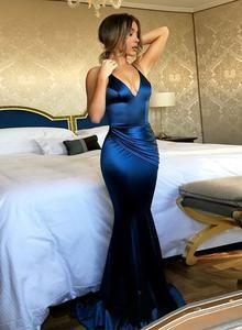 Mermaid blue v neck long prom dress, blue evening dress