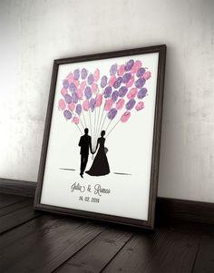 Gästebuch Ballons, Hochzeit, Fingerprints, Wedding von Paper Arts auf DaWanda.com