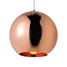 One of Tom Dixon's best selling designs, the Copper Pendant light has become ubiquitous within chic bars, restaurants and hotels across the world. Moulded from a polycarbonate sphere, this contemporary hanging pendant has an interior of vacuum metallis Round Pendant Light, Copper Pendant Lights, Copper Lighting, Pendant Lighting, Lounge Lighting, Home Lighting, Interior Lighting, Tom Dixon, Chandeliers