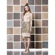 by Gio Rodrigues Ceremony short dress crepe golden lace